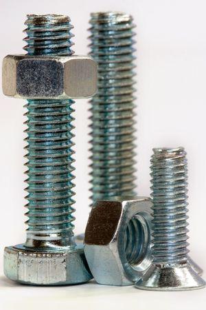 close ups: close ups of bolts and nuts Stock Photo