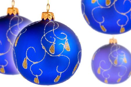 Blue christmas bals on white background photo