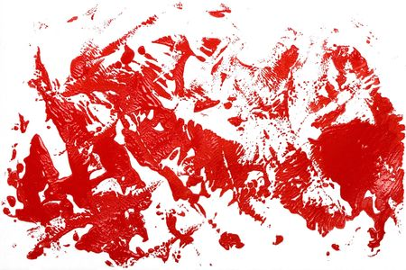 red ink stain effect on white photo
