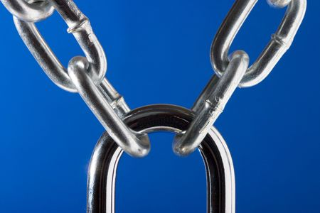 yoke: The New Metal Chain and lock on blue