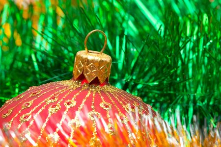 Christmas decoration on color tinsel background photo