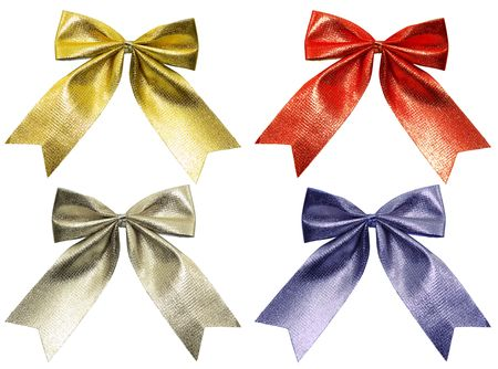 buttom: Close up of color ribbon tied for christmas  Stock Photo