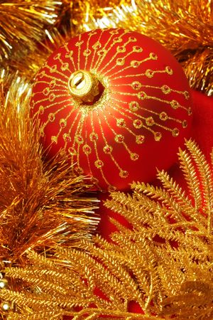trinkets: Close up of Red and gold christmas decoration