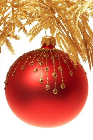 Close up of Red and gold christmas decoration  photo