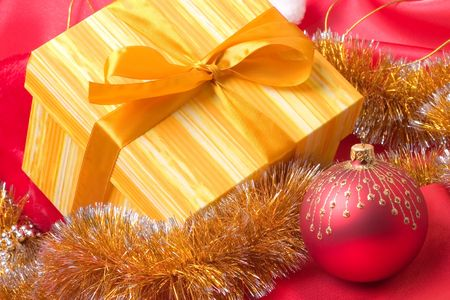Christmas decoration on the red background photo