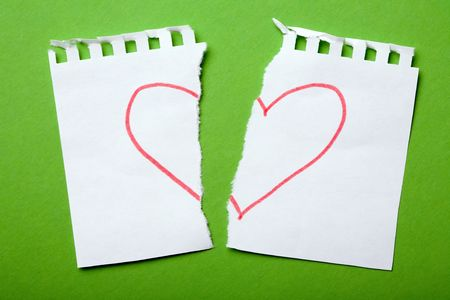 Heart drawn on torn notebook page Stock Photo - 752520