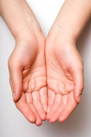 cupped hands: Hands holding