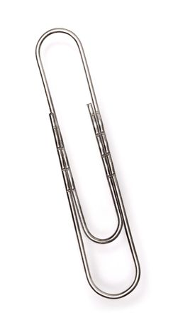 fastening objects: Close up of the paper clip on white
