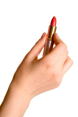 Woman hand with lipstick. On the white.n photo