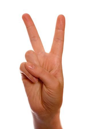counting fingers number two (2). Peace and victory. Stock Photo - 792619