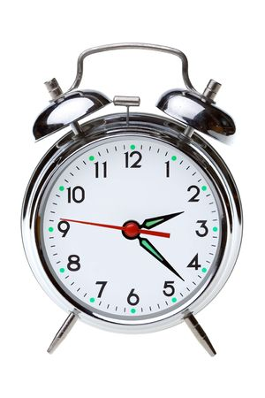 close up of the oldfashioned alarm clock Stock Photo