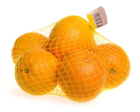 A plastic mesh bag with oranges. photo