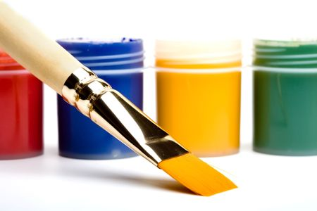 The Vibrant Colors and the painting brushes.  photo