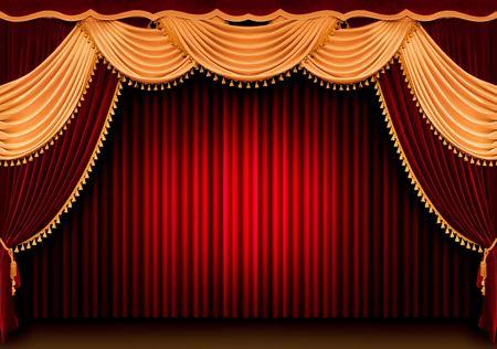 rideau de theatre: Rideau rouge de th��tre  Banque d'images