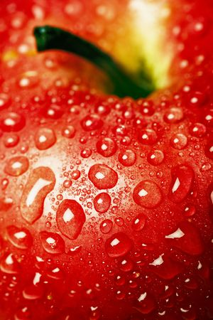 Close up of the Red apple covered dew