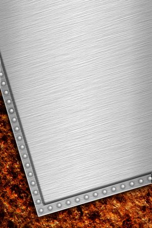 Close up view og Metal Plate on rusted background Stock Photo - 1005124