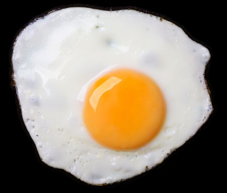 Close up view of the fried eggs on black Stock Photo - 1236148