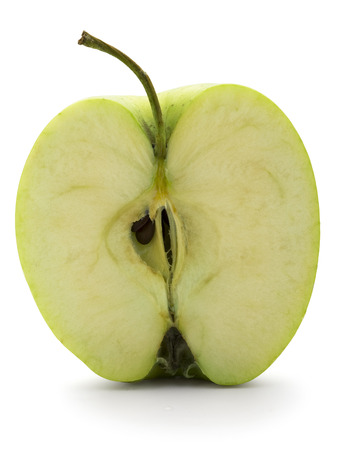 bisected: close up view of the apple cut in half  Stock Photo