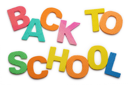 learing: Words Back to school isolated on the white background Stock Photo