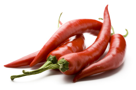 Close up view of red hot chilli peppers