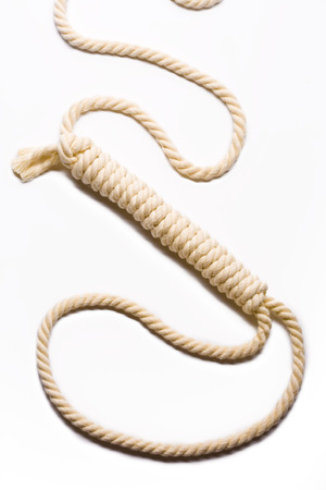 Close up view of the Rope noose hanging  photo