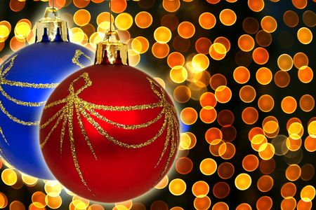 close up of the christmas ball on color background photo