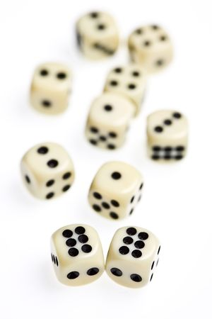 close up view of some dice on white photo