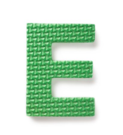 Letter E isolated on the white background Stock Photo - 1796757