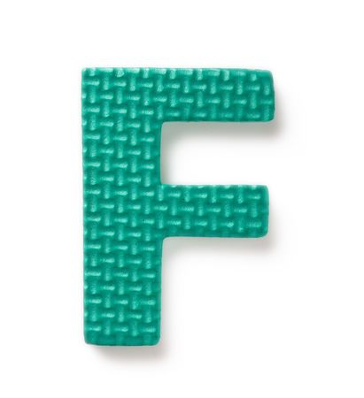learing: Letter F isolated on the white background