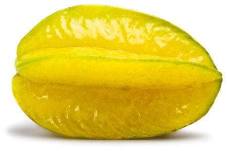 carambola: Close up view of the carambola on the white
