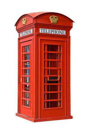 antique telephone: The British red phone booth isolated on white  Stock Photo