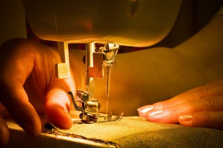 craft materials: Hand sewing on a machine