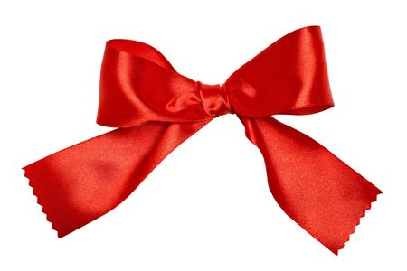 Close up view of the ribbon bow on white photo