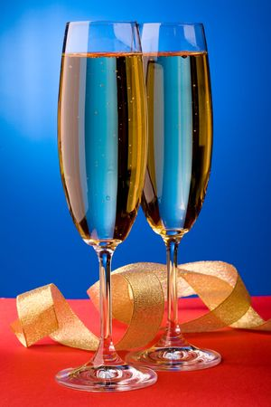 glases: Close up view of the glases of champagne Stock Photo