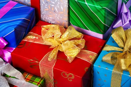 Close up view of the gifts box background photo