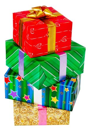 Close up view of the gifts box on white photo