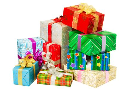 closed ribbon: Close up view of the gifts box on white  Stock Photo