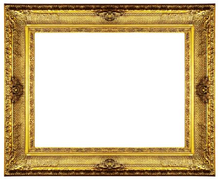 chipped: Chipped vintage gold ornate frame. Isolated on white
