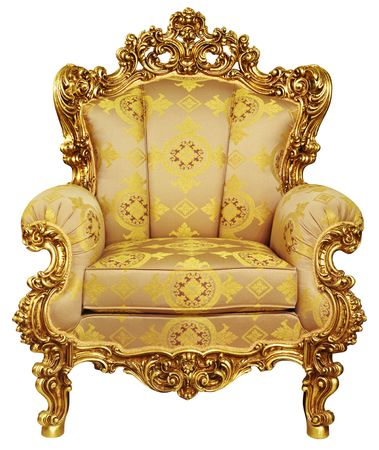 easy chair: High Resolution. Isolated. Gold elbow-chair. Stock Photo