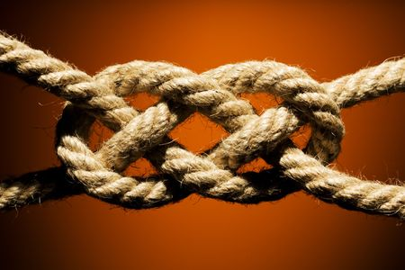 bonding rope: Close up shot of a rope with a knot