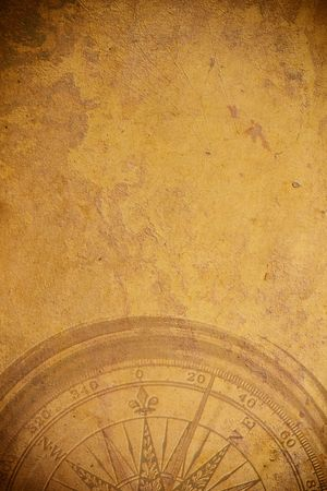 nautical vessels: Close up view of the Compass on the old paper background Stock Photo