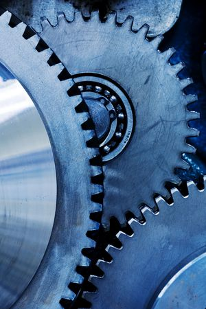 close up view of gears from mechanism Stock Photo