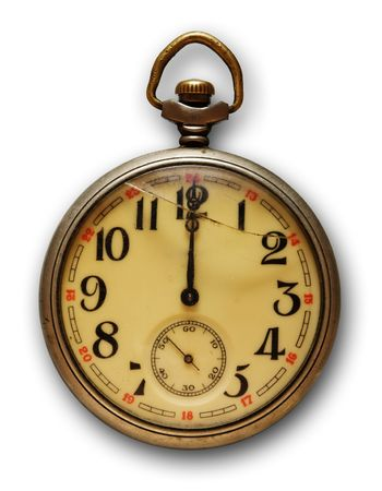 winder: Old pocket watch, isolated on white background with soft shadow Stock Photo