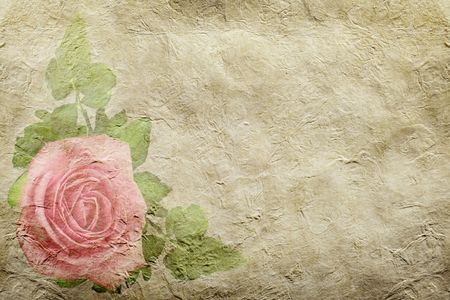 flower age: close up view of the old paper with rose