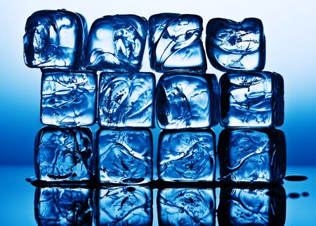 Close up view of the ice cubes in blue Stock Photo - 3270623