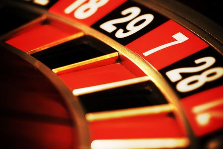 Close up view of the roulette whill, seven photo