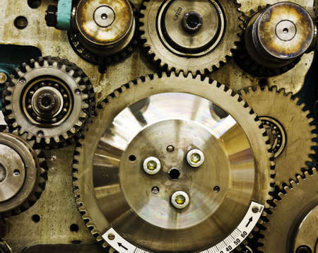 gear wheels: close up view of gears from old mechanism Stock Photo