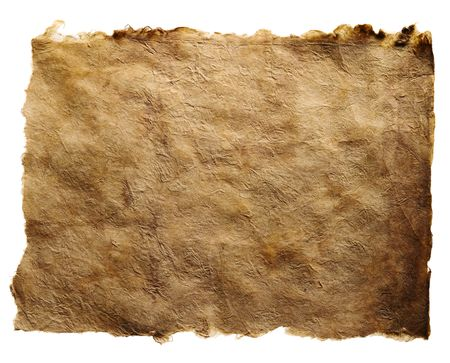 An antique brown paper with torn edges, isolated on a white background. Stock Photo