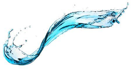artistry: Blue water splashing on a white backdrop.
