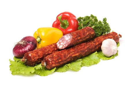Tasty sausages on the white background Stock Photo - 3685910